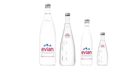 bouteilles evian en verre